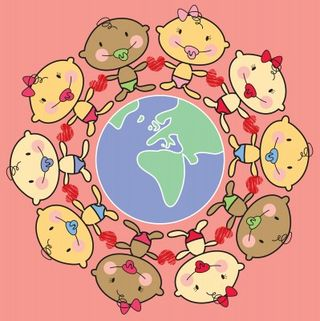 Here We Are With Luci, Globe cartoon with multiracial babies