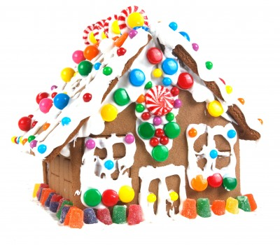 Gingerbread house with gumdrops