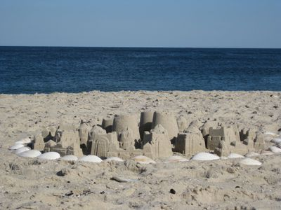 Sand Castles with ocean view on beach
