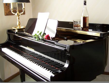 Piano with sheet music, rose, wine; Peter Russo CD cover pic