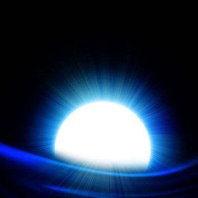 White sun on blue black background