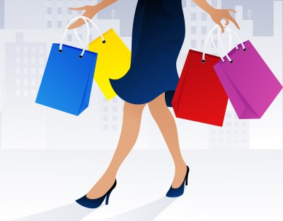 Drawing of Woman with colored shopping bags