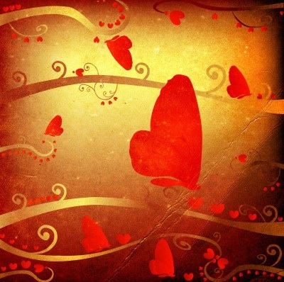 Red Hearts with Gold Background Artwork