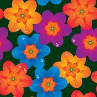 blue, purple, and orange daisy flowers artwork