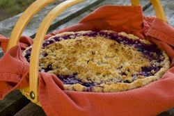 Blueberry pie in basket