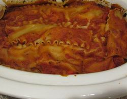 Lasagna in All-Clad Crock Pot after cooking for 5 hours