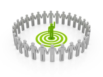 Circle of people around one person graphic