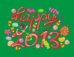 Happy 2013 drawing with candy