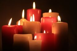 Red candles with flame