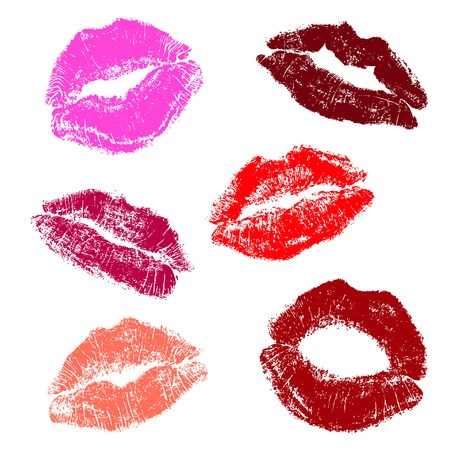 Lipstick smudges blotting pink, red, taupe, mauve