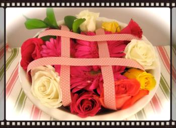 Pie Plate Flower Centerpiece After
