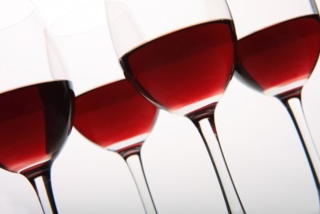 Crystal Stemware with Red Wine