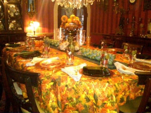 Autumn Table Scape for Thanksgiving with Homemade Tablecloth