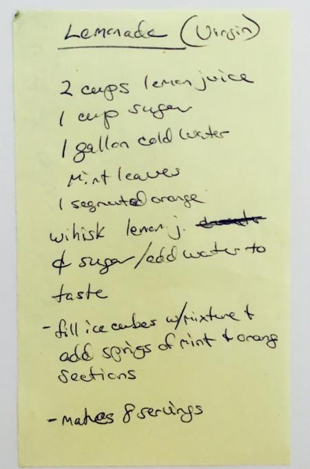 Luci's Lemonade Recipe handwritten