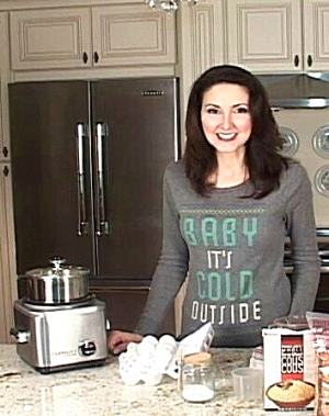 Luci Weston on set of Cuisinart Rice Cooker demo