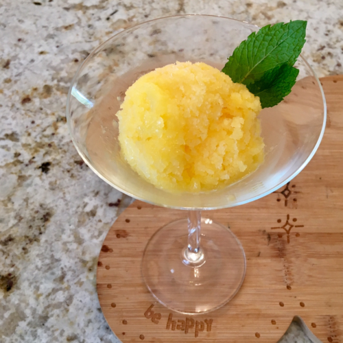 Mango Ice with peppermint leaves