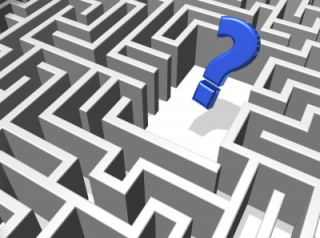 Maze with blue question mark in center