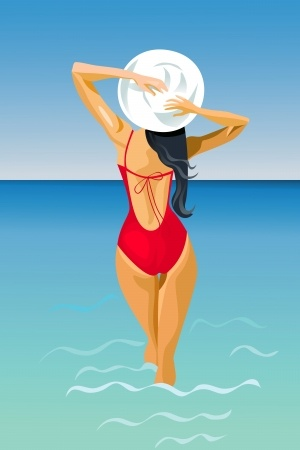 Swimsuit vector woman in ocean copy