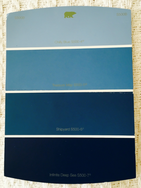 Blue Paint Swatch from Behr for bathroom renovation