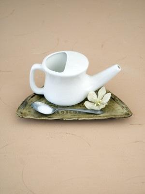 Neti Pot with salt on tray