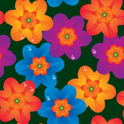 blue, purple, and orange daisy flowers artwork