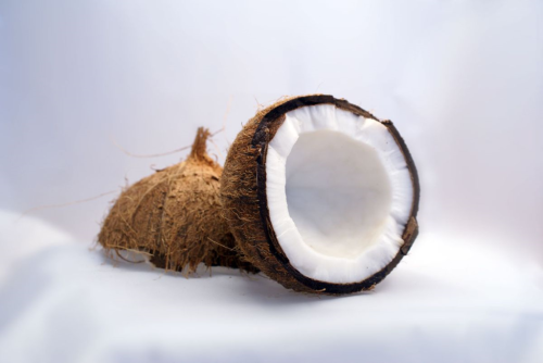 Coconut in shell split in half