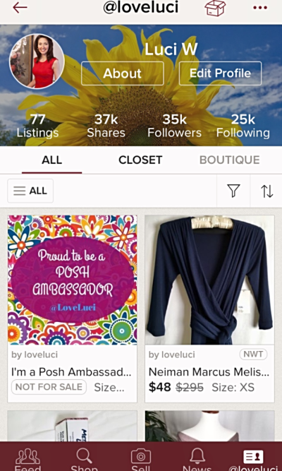 Poshmark closet @LoveLuci on phone app